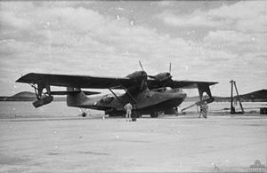 No. 11 Squadron RAAF - A No. 11 Squadron Catalina being beached for maintenance in 1943