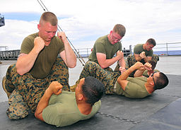 130528-N-QD718-085 PHILIPPINE SEA (May 28, 2013)- Marines assigned to Fleet Anti-terrorism Security Team Pacific (FASTPAC), perform mixed martial arts training techniques aboard U.S. 7th Fleet 130528-N-QD718-085