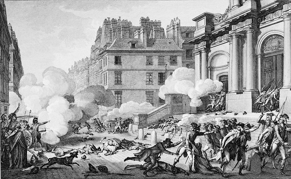 Etching of a street, there are a lot pockets of smoke due to a group of republican artillery firing on royalists across the street at the entrance to a building