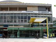The Royal Festival Hall undergoing renovation work.