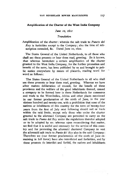 File:1622 Amplification to the Charter of the Dutch West India Company.djvu