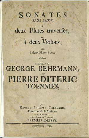 Sonates sans basse (Telemann) - Title page of Telemann's 1727 publication (TWV 40:101-106)