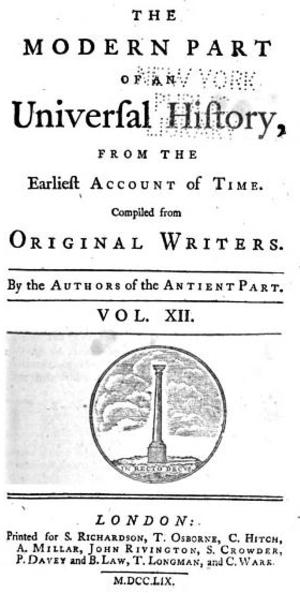 Universal History (Sale et al) - Universal History, v.12, 1759