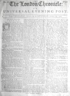 <i>London Chronicle</i> early family newspaper of Georgian London