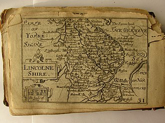 "Pieter van den Keere - Lincolnshire, map by Pieter van den Keere for a ""Miniature Speed Atlas""."