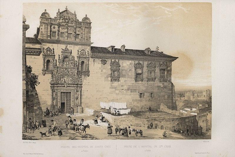 Archivo:1844, España artística y monumental, vistas y descripción de los sitios y monumentos más notables de españa, vol 2, Puerta del Hospital de Santa Cruz en Toledo.jpg