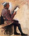 1869 Jessen Lesender Bauer mit Zipfelmütze anagoria.JPG