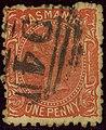 1875ca 1d vermilion Tasmania perf11² wmkTAS oval 94 Yv28 Mi24c SG144e.jpg