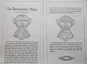 Victorian dress reform - 'The Emancipation Waist.'  Excerpt from 'Catalog of Dress Reform and Other Sanitary Under-Garments For Ladies and Children' George Frost and Co., Boston Mass June 1, 1876.