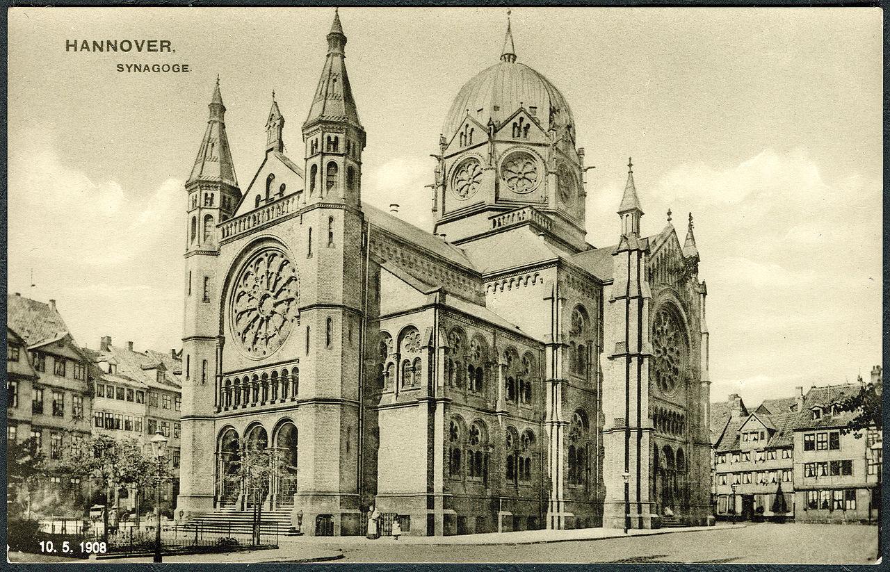1908-05-10 W. Bernhard Hannover. Synagoge, 1972 Ansichtskarten-Reproduktion, Bildseite.jpg