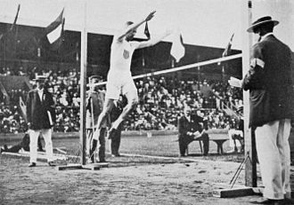 Athletics at the 1912 Summer Olympics – Men's standing high jump - Platt Adams in action.