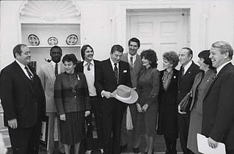 Clemson Tigers football - 1981 Clemson Tigers football team visit the Oval Office in January 1982.