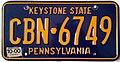 1987 Pennsylvania license plate CBN-6749.jpg