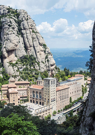 Santa Maria de Montserrat Abbey - The abbey as seen from the Funicular de Sant Joan