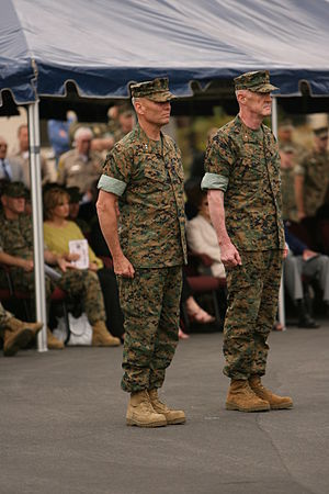 John M. Paxton Jr. - Paxton (left) turns over command of the 1st Marine Division on May 22, 2007.