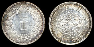 Japanese yen - Early 1-yen silver coin, 26.96 grams of .900 pure silver, Japan, minted in 1901 (year 34 of the Meiji period)