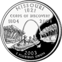 Missouri quarter dollar coin