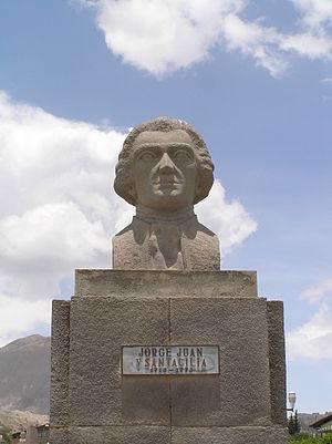 Jorge Juan y Santacilia - Bust of Jorge Juan y Santacilia in Mitad del Mundo, Ecuador