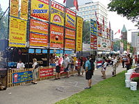 Patrons queue at the 2006 Rib-Fest in London, Ontario.