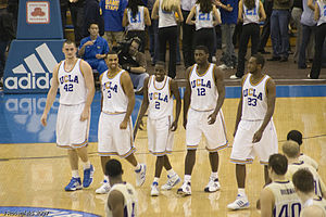 2007–08 UCLA Bruins men's basketball team - UCLA's starting lineup of (left to right) Love, Shipp, Collison, Aboya, and Mbah a Moute.