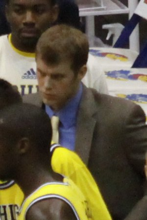 Patrick Beilein - Beilein in the 2009–10 Michigan Wolverines men's basketball team huddle