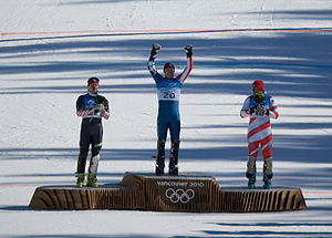 United States at the 2010 Winter Olympics - The medal ceremony for the men's combined. From left: Ivica Kostelić (silver), Bode Miller (gold) and Silvan Zurbriggen (bronze).