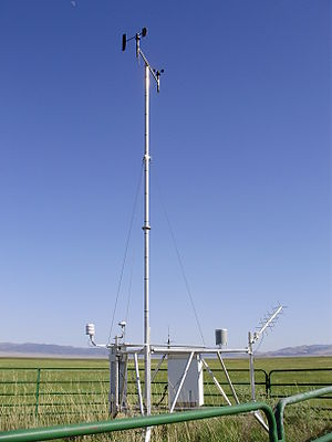 Remote Automated Weather Station - Remote Automatic Weather Station (RAWS) with TriLeg tower at Ruby Lake Ruby Lake National Wildlife Refuge, Elko County, Nevada