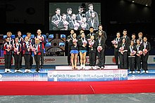 The medal ceremony at the 2012 World Team Trophy