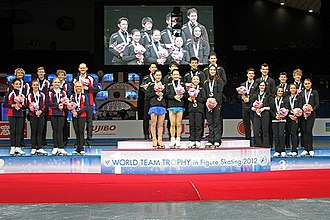ISU World Team Trophy in Figure Skating - The medal ceremony at the 2012 World Team Trophy.