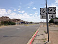 2014-07-17 12 22 23 View south along U.S. Route 95 at the junction with U.S. Route 6 about 1.2 miles north of the Esmeralda County Line in Tonopah, Nevada.JPG