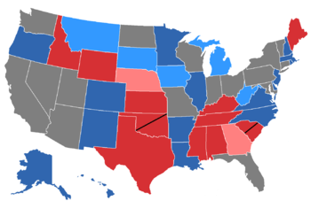 Color coded map of 2014 Senate races