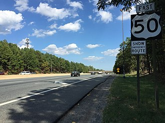 Interstate 595 (Maryland) - View east along I-595 in Prince George's County. The entire route is signed as US 50, with no I-595 signage.