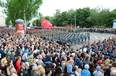 Pro-Russian separatists in Donetsk celebrate the Soviet victory over Nazi Germany, 9 May 2018 2018-05-09. Den' Pobedy v Donetske f171.jpg