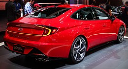 2019 Hyundai Sonata (DN8) rear in bright red, NYIAS 2019.jpg