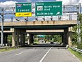 2020-08-05 14 37 22 View north along Maryland State Route 157 (Merritt Boulevard) at the exit for Maryland State Route 151 NORTH (North Point Boulevard, Baltimore) in Dundalk, Baltimore County, Maryland.jpg