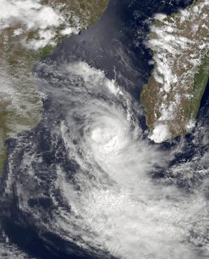1981–82 South-West Indian Ocean cyclone season - Satellite image of February tropical depression near Madagascar