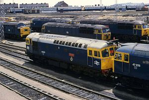 Cardiff Canton TMD - BR diesel locomotives at Canton in the 1980s