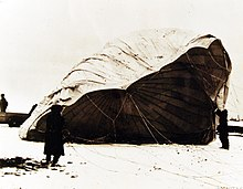 Deflated fire balloon found on the ground near Bigelow, Kansas on February 23, 1945