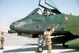 353rd Combat Training Squadron - A ground crewman signals 353d Tactical Fighter Squadron A-10 Thunderbolt II to a stop at King Fahd International Airport for Operation Desert Shield