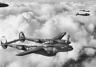 "131st Bomb Wing - Lockheed P-38J-10-LO Lightnings including 42-67978 ""Mim / Betty A II"" N2-K of Lt. Loren R. Wilson in the 383rd FS, 364th FG"