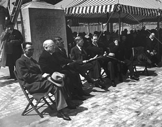Maurice J. Tobin - Mayor Tobin (seated, fifth from left) at the dedication of the John Harvard Mall on May 2, 1943