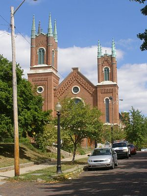 Centennial Neighborhood District - Image: 411 N 7th Street First Baptist (Lafayette, Indiana)