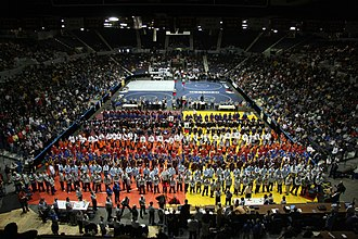 Blue Cross Arena - Wrestlers gather on the floor of the Blue Cross Arena at the start of the 46th NYSPHSAA Wrestling Championships on March 8, 2008.