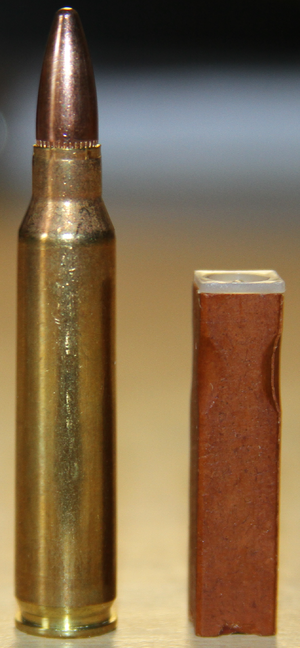 Caseless ammunition - Comparison of .223 (5.56 mm) Remington (left) and 4.73 mm caseless (right)