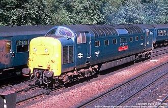 British Rail Class 55 - 55019 Royal Highland Fusilier at Princes Street Gardens, Edinburgh on 26/08/78.