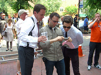 "White Collar (TV series) - Stars Tim DeKay (left) and Matt Bomer (right) during filming of the third-season episode ""On the Fence"", June 7, 2011."