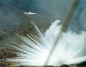 White phosphorus munitions -  U.S. Air Force Douglas A-1E Skyraider drops a white phosphorus bomb on a Viet Cong position in South Vietnam in 1966.