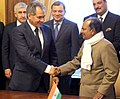 A. K. Antony and his Russian counterpart Mr. Sergey Shoigu, at the 13th Meeting of the India – Russia Inter-Governmental Commission on Military Technical Cooperation (IRIGC-MTC), in Moscow on November 18, 2013.jpg
