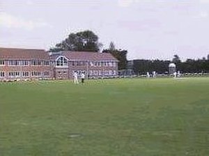 Aylesbury Grammar School - The Geography (left) and Maths (centre) blocks by the school field