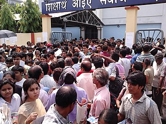 All India Pre Medical Test - Examinees leaving the examination Centre at Kolkata, after completion of the AIPMT 2011 preliminary examination